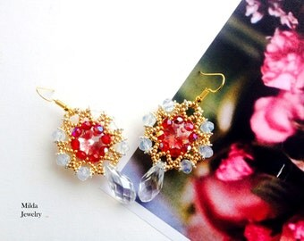 Crystal beaded earrings, red, gold beadwork earrings, seed bead embroidered beadwoven earrings, jewelry for her, elegant bridal earrings