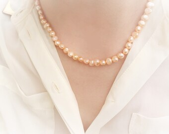 Pink Pearl Necklace, Pink Pearls, Peach Pearl Necklace, 15 Inch Necklace, Apricot Pearls, Real Pearl Necklace, Peach Pearls