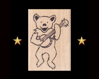 GRATEFUL DEAD Dancing Bear With Banjo Rubber Stamp – Wood Mounted, Craft Stamps, Jerry Garcia, Grateful Dead Gifts, Dead Head, Dancing Bear