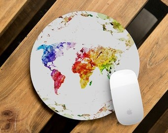 Mouse Pad Pretty Mousepad Round Office Desk Pad Mousepad Watercolor Atlas Computer Pad Boyfriend Gift Mouse Mat World Map Rubber Mousemat