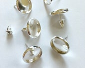 10 pieces - 12mm Silver Blank Earring Setting w/ Post - Low Wall - DIY - 12mm Cabochon Earrings  - Glue Your Favorite Stones - 10 pcs