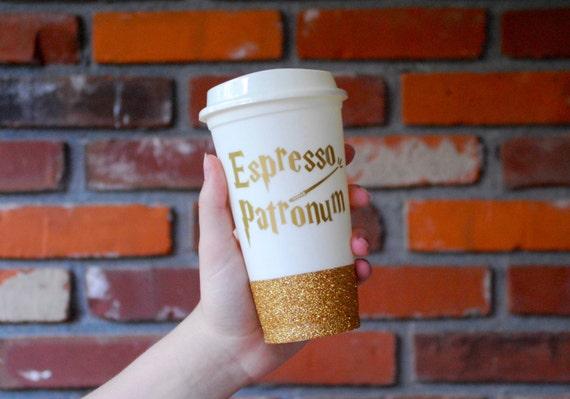 Espresso Patronum coffee cup, Harry Potter gift, Hogwarts, Harry Potter coffee cup, gold glitter travel mug