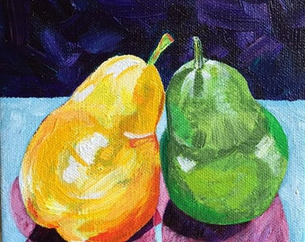 Still Life - PEARS - Original Acrylic Painting, 6x6 - Deep Pro Canvas 1.5""