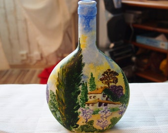 Bottle. Hand-painted watercolor.