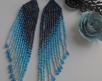 Blue beaded earrings Extra long earrings  Blue earrings Boho earrings Fringe earrings Beadwork jewelry Ethnic style Jewelry earrings