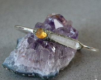 November Birthstone Jewelry - Womens Bracelet - Raw Citrine Bracelet - Crystal stone cuff Clear Quartz jewelry Great Christmas gifts for her
