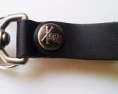 Black Leather Gear Clip Key Fob Belt Clip Tankard Strap Antique Nickle Key ring Skull Steampunk Dieselpunk by Darkwear Clothing