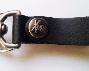 Black Leather Gear Clip Key Fob Belt Clip Tankard Strap Antique Nickle Key ring Skull Steampunk Dieselpunk by Darkwear Clothing