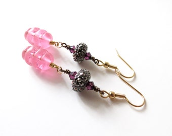 Pink Purple Rhinestone Vintage Inspired Dangle Earrings, Crystal Accents, Colorful Long Cocktail Old Hollywood Mid Century Glam Gold Steel