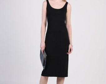 Black Tank Top Dress, Sleeveless Midi Dress,  Black Jersey Dress, Sun Dress, Slim Dress, Scoop Neck Dress, Slip On Dress