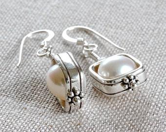 White Pearl Earrings, Pearl Dangle Earrings, Sterling Silver Dangle Earrings, Freshwater Pearl Earrings, Real Pearl Earrings for Women