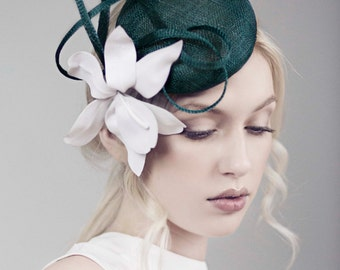 The Wallis Race Day Hat, Orchid Headpiece, Green & White Mini Hat.