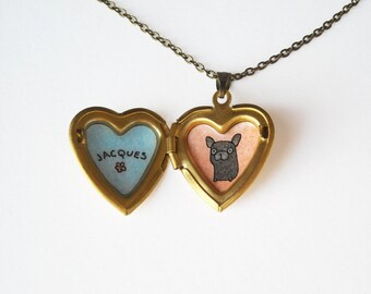 Frenchie Jewelry - French Bulldog with Custom Name Heart Locket Necklace - Black, Fawn or Black and White Dog Illustration
