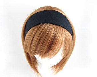 Black Cotton Headband Wide Fabric Headwrap