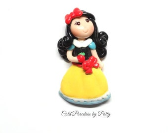 Princess Snow White Figurine - Clay Snow White Pendant, Snow White Bow Center, Clay Charm, Magnet, Brooch, Cold Porcelain Clay Princess