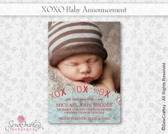 XOXO Baby Announcement - 5 x 7 - Digital Download - Printable - Photo - Personalize