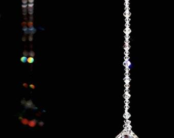 Suncatcher m/w Swarovski® Crystal 30mm AB MOZART Twist + AB/Clear Strand Car Charm or Home Suncatcher, Pearl Place N More