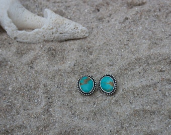 Natural Turquoise Stud Earrings   Turquoise Jewelry   Sterling Silver Earrings   Mermaid Jewelry