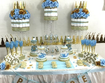 shower favors boys baby blue gold prince theme and decorations