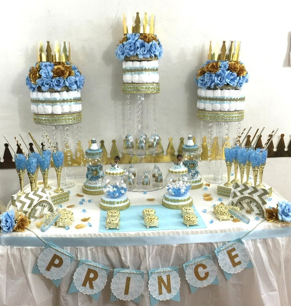 Little prince baby shower candy buffet diaper cake for A new little prince baby shower decoration kit