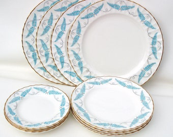 Vintage Royal Worcester China / Ferncroft Turquoise Dishes / Porcelain Dinner Plates Lot of 12 / Service for 4