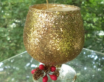 Vintage Christmas Candle * Pine Scented in a Brandy Glass*  Gold Sparkled Ornament * Made In USA * Christmas Decor * Christmas Decoration