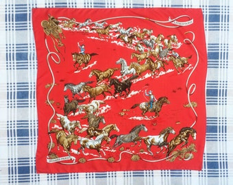 Authentic Vintage Hermes Scarf Les Mustangs Cowboy Horse Ranch
