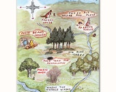 """Nursery Map Art Print, 100 Acre Wood (Winnie the Pooh """"Hundred Acre Wood"""" Cartography Gift)"""