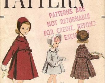 Girls Vintage Flared Coat Size 6 1950s Vogue Pattern