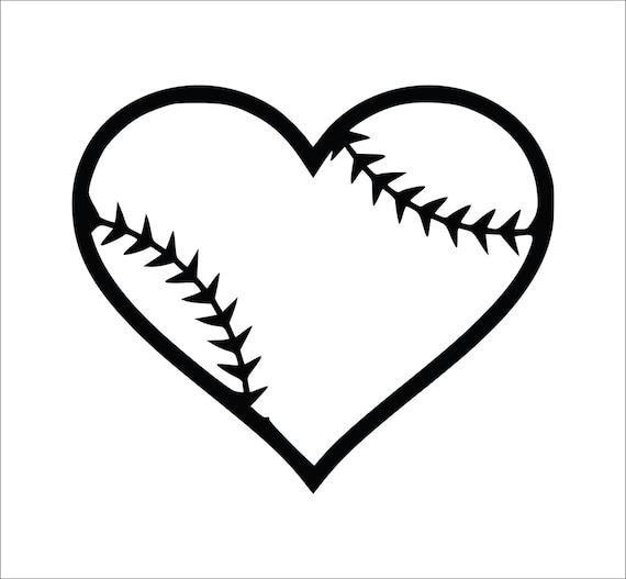 Baseball Heart Decal, Softball Heart Decal, Laptop Decals, Softball ...
