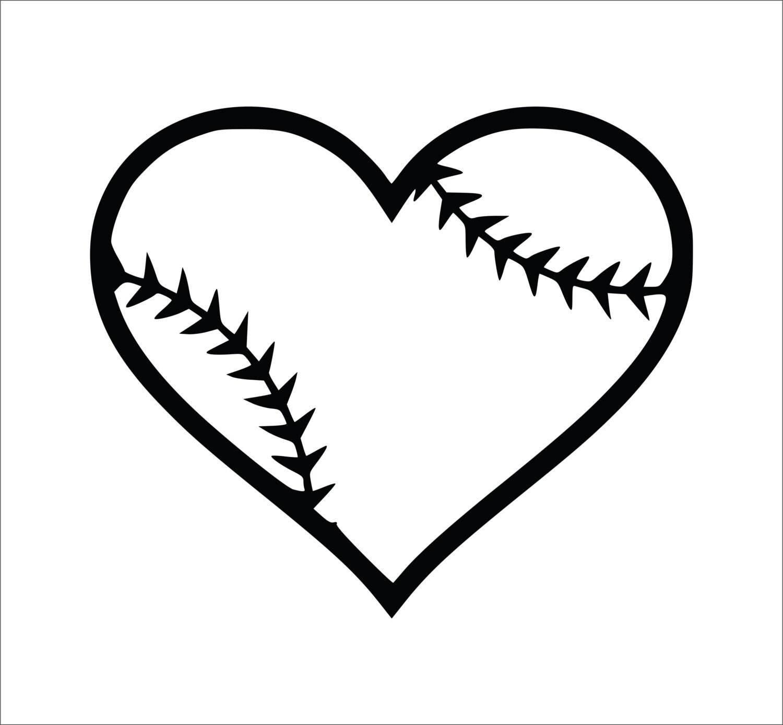 Baseball Heart Decal Softball Heart Decal Laptop Decals