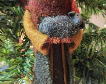 Christmas Ornament - Nativity Shepherd, Clothespin, Felt,
