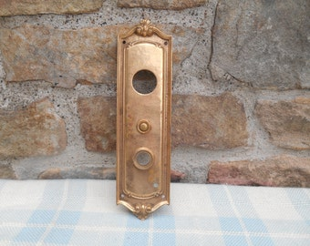 """Brass Doorknob Keyhole Escutcheon Ornate Door Plate Antique Hardware Large Finding Architectural Salvage 10 1/8"""" Doorbell Sargent and Co."""