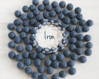 2CM Felt Balls - 100% Wool Felt Balls - 25 Wool Felt Balls (18 - 20 mm) - Color Iron-8030 - Felt Pom Poms - 2CM Dark Gray Color Felt Balls
