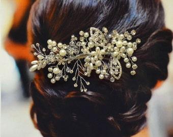Florence Bridal Hair Comb, Wedding Hair Comb, Pearl and Crystal Hair Comb, Wedding Hair Accessories, Bridal Headpiece, Wedding Hair Pin