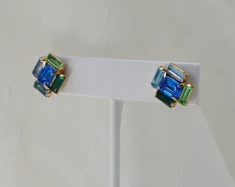 Multicolor Blue and Green Rhinestone Stud Earrings  2133