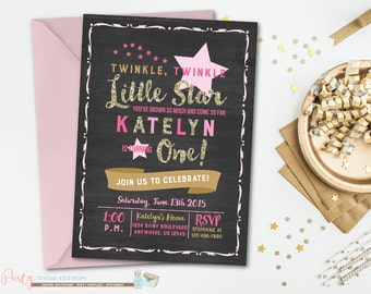 Twinkle Twinkle Little Star Birthday Invitation, Twinkle Twinkle Little Star, Pink and Gold, Glitter, Twinkle Twinkle Little Star Invitation