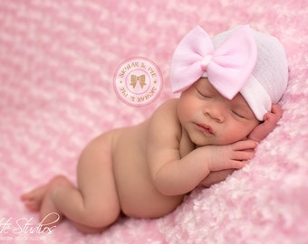 NEWBORN GIRL HAT - Baby Girl Hat -Baby's 1st Keepsake - New Baby Hats - Newborn Hospital Hat with Bow 2