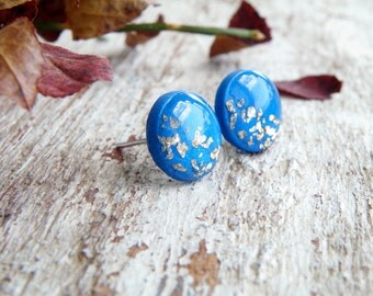 Royal blue gold stud earrings gift for bride from bridesmaid polymer clay earrings gold earrings gift for women wedding gift nautical gift