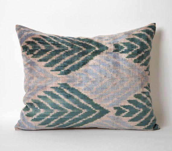 Green Ikat Pillow Cover Light Blue Green Chevron Zigzag