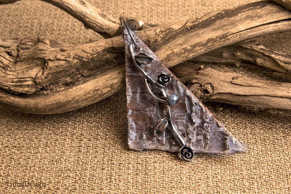 White Washed Birch Bark Pendant with Metal Rose Ornament
