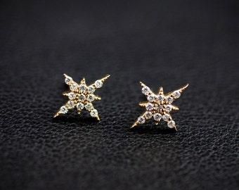 14k rose gold, white gold ,yellow gold diamond cluster studs, starburst studs earring, diamond earring, dainty diamond star stud, sb-e101