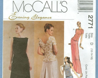 2000 Misses' Two Piece Dress Top and Skirt Evening Elegance Uncut Factory Fold Size 12,14,16 - McCall's Sewing Pattern 2771