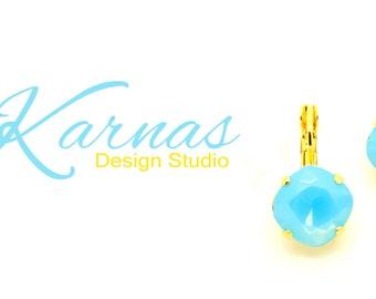 AQUA OPAL DOUBLET 12mm Leverback Earrings Cushion Cut Stones *Pick Your Finish *Karnas Design Studio *Free Shipping