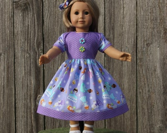 Purple Princess Dress and Barrette for  American Girl 18 inch Doll Girl Kids Doll Clothes American Made Doll Accessories