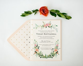 floral bridal shower invitation  - customizable (sets of 10)  //  watercolor floral gold foil blush bridal shower invite