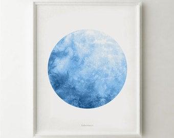 Blue Moon print, Full moon wall art, Astronomy print, Moon poster, Watercolor Moon, Blue Watercolor art Printable Poster 16x20, 18x24 print