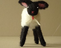 Handmade needle felted lamb - felt animal - felted lamb gift for her - felt ornament - sheep - made in uk - home and living free shipping