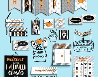 Halloween Party Pack Printable - Halloween Party Decorations Printable - Printable Halloween Party Decorations - EDITABLE INSTANT DOWNLOAD
