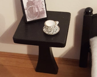 Modern Black 1:12 scale side table/ 1 12 scale end table/ 1 12 scale table/ miniature table/ dollhouse furniture/ gothic table/ small table